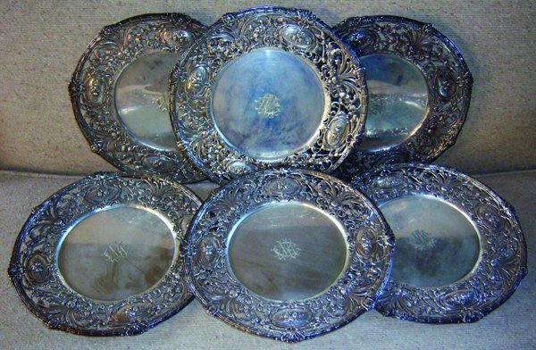 021011: REDLICH & CO. STERLING SERVICE PLATES, SIX