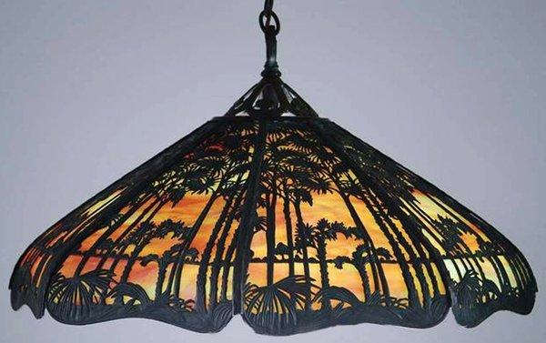 021015: HANDEL 'HAWAIIAN' HANGING LAMP, EARLY 20TH C