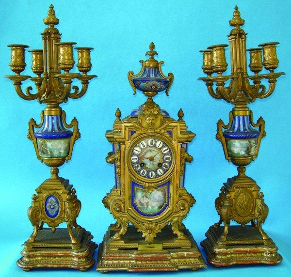 021019: V.J.MAGNIN GUEDIN & CO. CLOCK GARNITURE