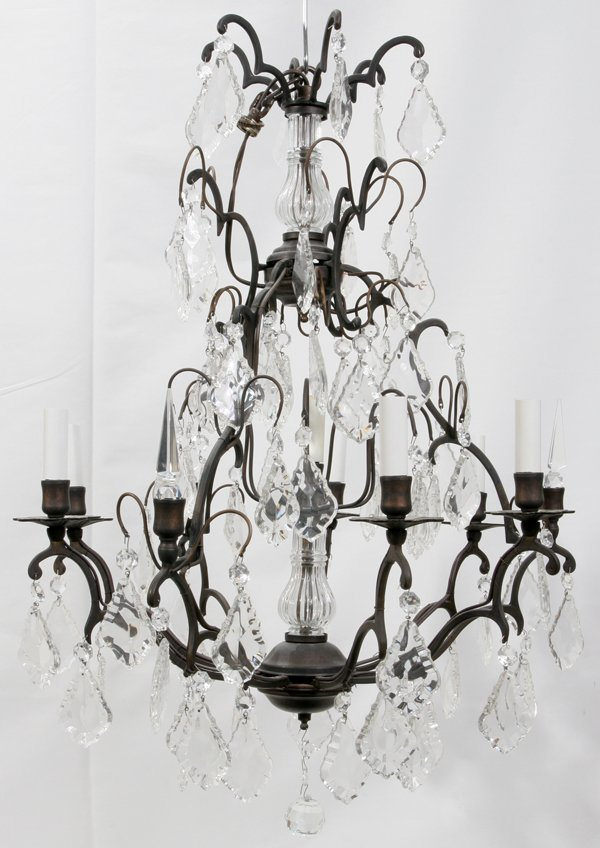 021020: FRENCH IRON & CRYSTAL NINE-LIGHT CHANDELIER