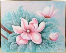 021329: LEE REYNOLDS OIL ON CANVAS PINK FLOWER
