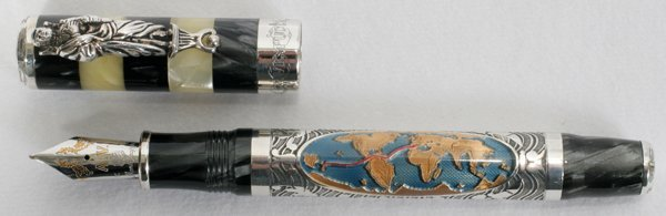 022010: MONTEGRAPPA STERLING FOUNTAIN PEN W/18KT GOLD