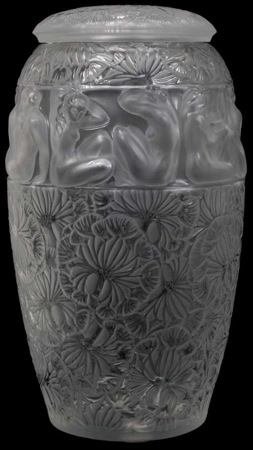 022053 Lalique Angelique Crystal Covered Vase