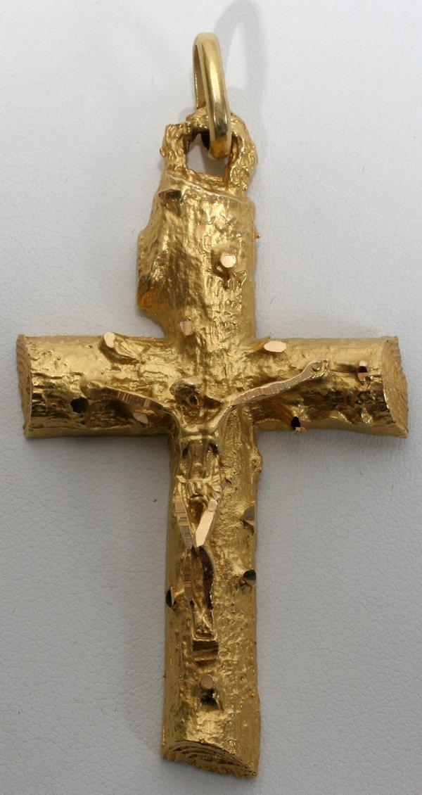 022357: NORWEGIAN 18KT GOLD CRUCIFIX, LAVALIERE