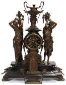 HOUDEBINE MARBLE & BRONZE MANTEL CLOCK, 19TH C.