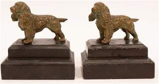 BRONZE PATINATED SPANIEL BOOKENDS PAIR