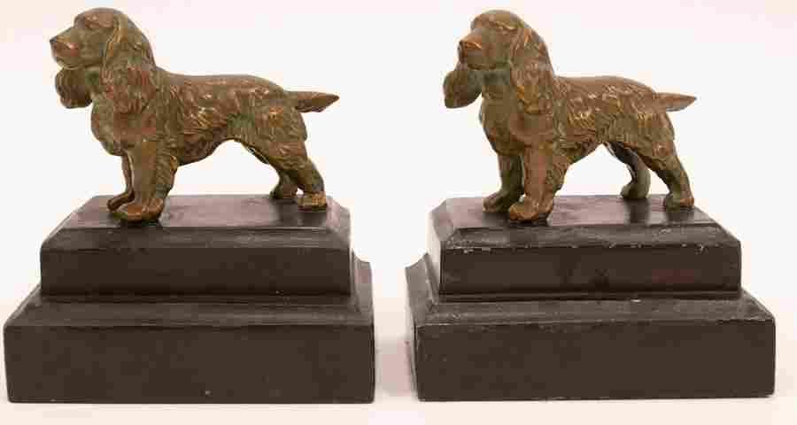 BRONZE PATINATED SPANIEL BOOKENDS, PAIR