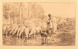 CHARLES EMILE JACQUE ETCHING AND DRYPOINT