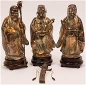 CHINESE SILVER PLATED FIGURES, 3 PCS