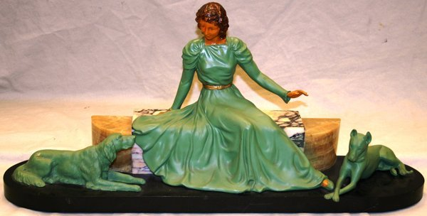 030002: AFTER CHIPARUS SPELTER SCULPTURE SEATED LADY