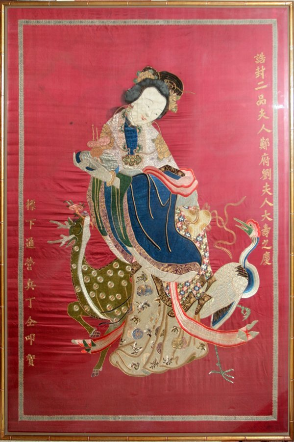 """030004: CHINESE SILK EMBROIDERY, H 86"""", L 47"""", 19TH.C"""