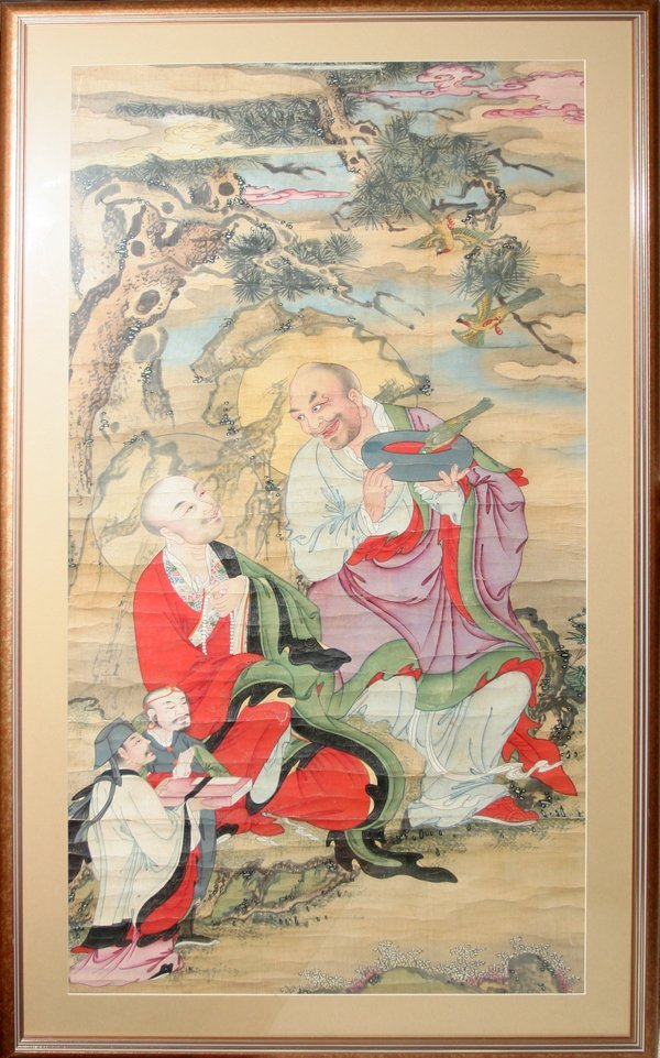 """030005: CHINESE PAINTING ON PAPER 19TH C, 54"""" X 28"""""""