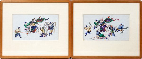 030006: CHINESE PAINTINGS ON RICE PAPER PAIR C1820