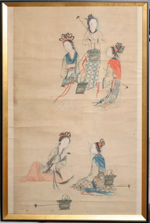 030007: CHINESE WATERCOLOR/GOUACHE ON PAPER, 19TH C