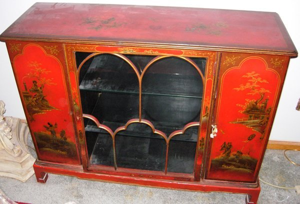 030018: CHINOISERIE DECORATED CABINET W/SINGLE DOOR