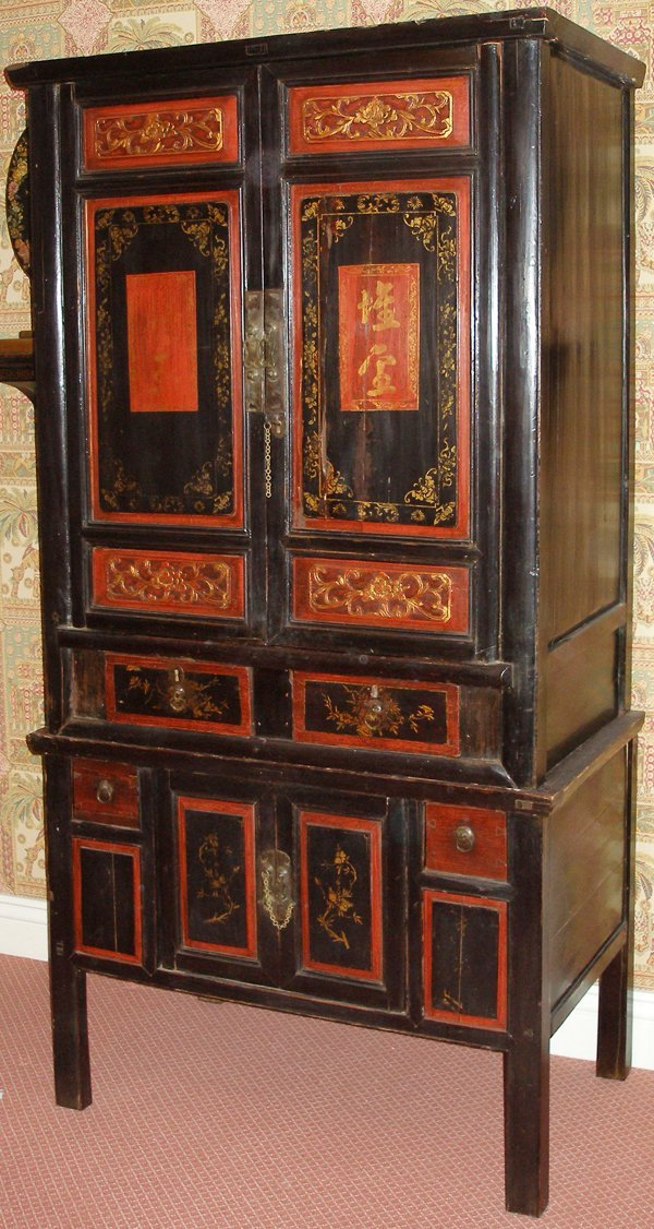 030019: CHINESE HAND PAINTED WOOD ARMOIRE, 19TH C