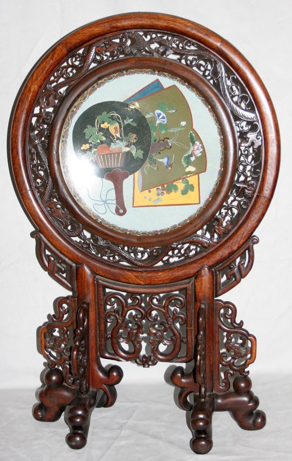 030021: CHINESE CLOISONNÉ AND CARVED TEAKWOOD SCREEN
