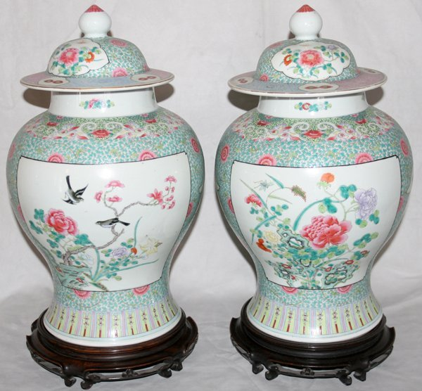 030062: CHINESE PORCELAIN COVERED GINGER JARS, PAIR