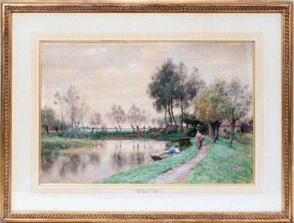 """031001: JOANNES BAPTISTA BARKHUIJZEN, WATERCOLOR, 15"""""""
