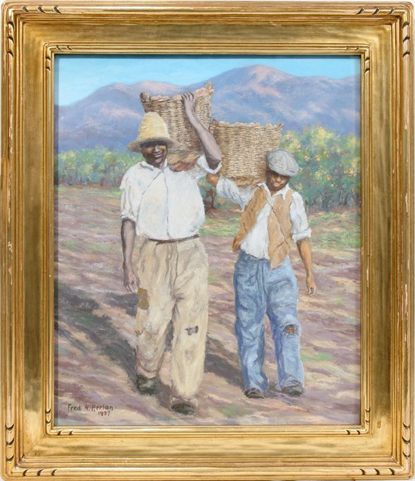 031003: FRED W. HERLAN OIL ON CANVAS MIGRANT WORKERS