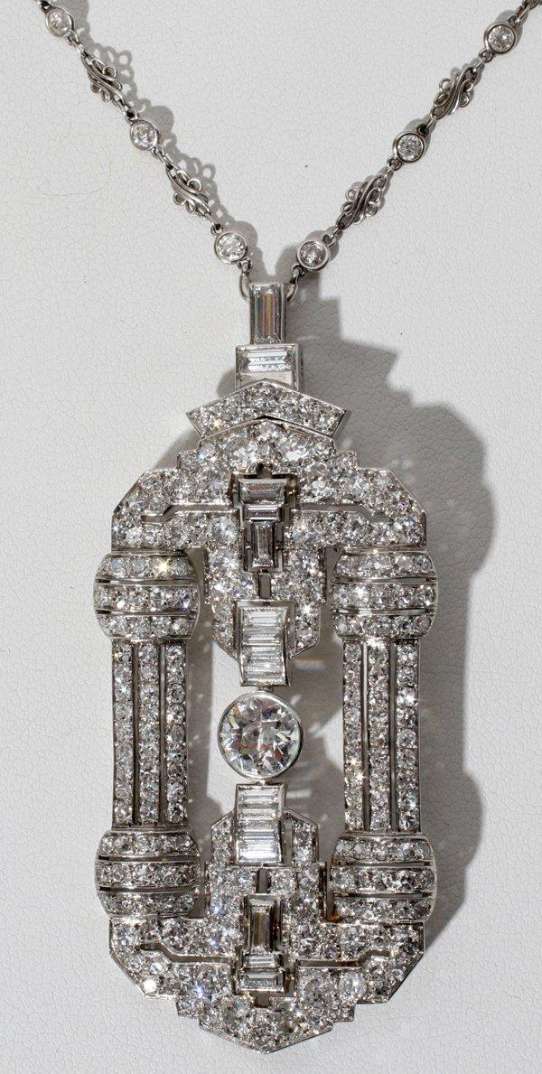 031015: DIAMOND VINTAGE PENDANT/BROOCH & NECKLACE
