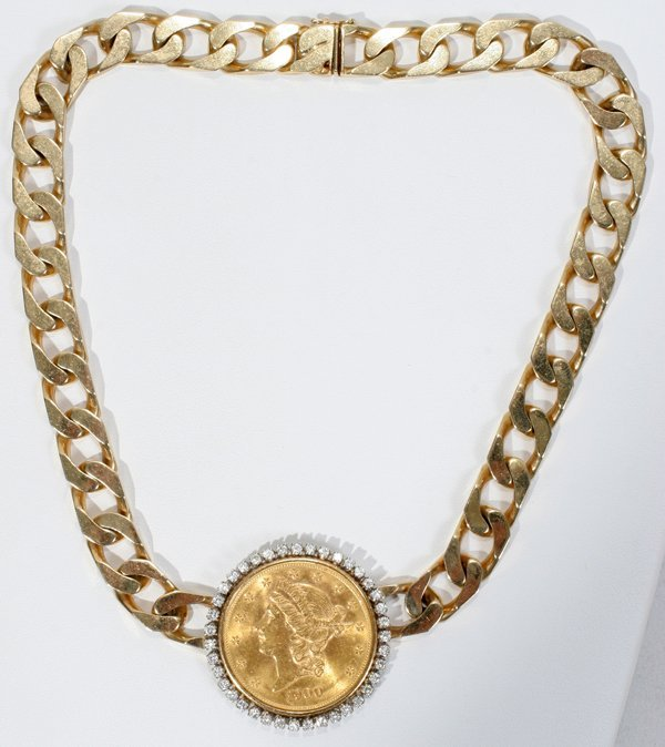 031020: 14KT GOLD NECKLACE & $20 GOLD COIN W/DIAMONDS