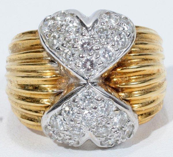 031023: 18KT GOLD & DIAMOND HEART RING, SIGNED