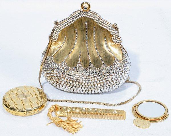 031025: JUDITH LEIBER GOLD CHATELAINE EVENING BAG