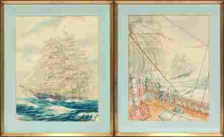 SIGNED PETE  PENNY, WATERCOLOR SEASCAPES 1967