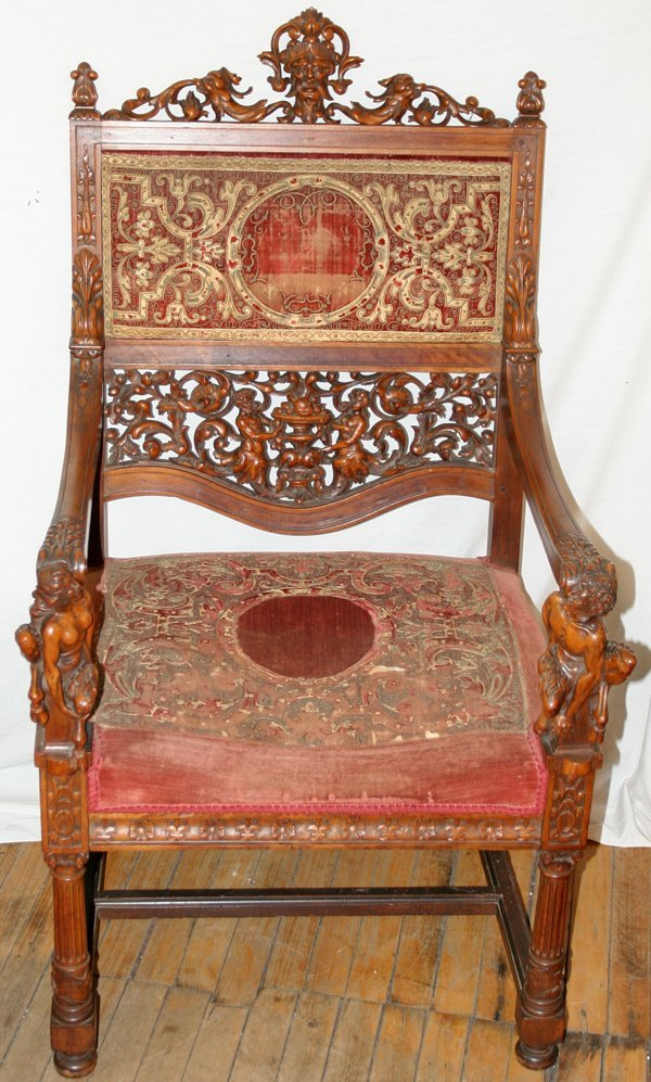 032020: BAROQUE REVIVAL WALNUT CARVED ARM CHAIR