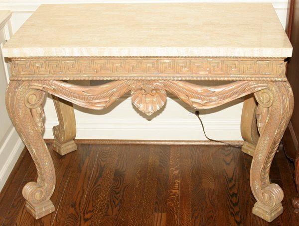 032023: NEOCLASSICAL STYLE MARBLE TOP CONSOLE TABLES