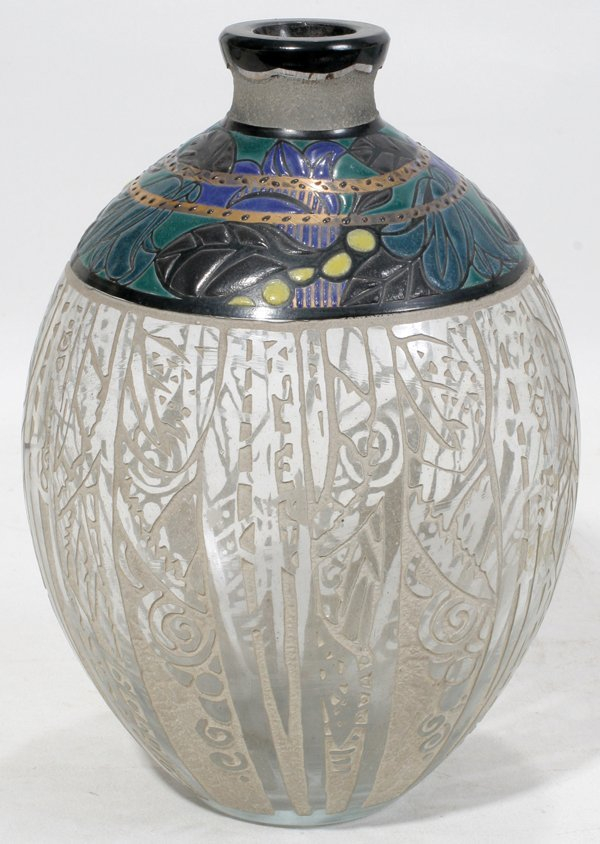 041010: ANDRE DELATTE, NANCY ETCHED & ENAMELED VASE