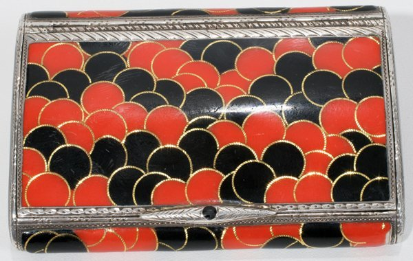 041015: ART DECO STERLING & ENAMEL BOX, 1927, L 3""