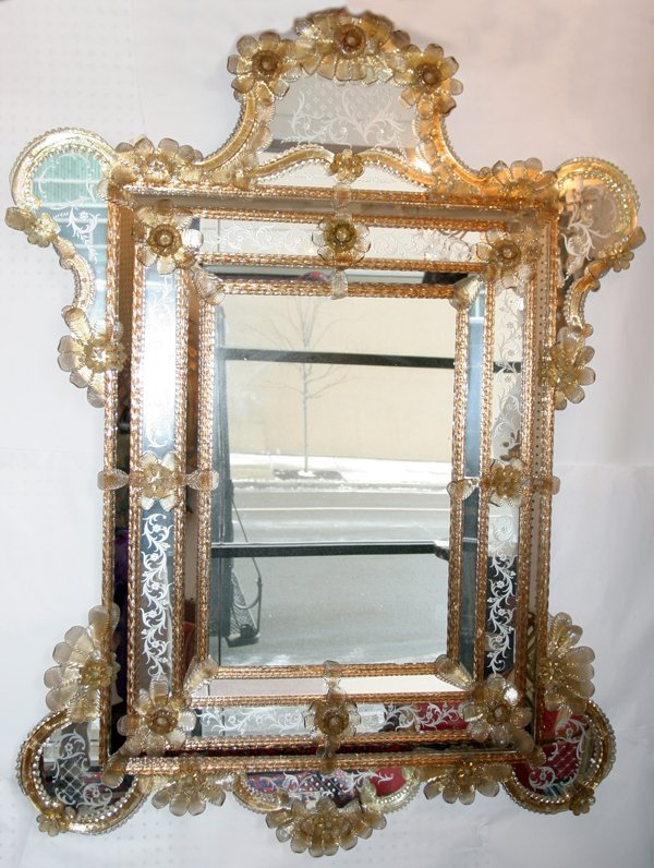 "041017: VENETIAN GLASS MIRROR, 67"" X 50"""