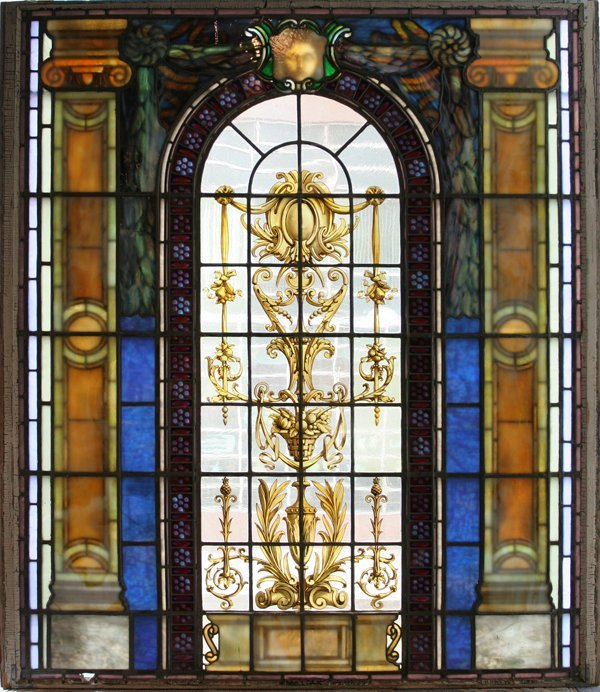 "041019: STAINED & LEADED GLASS WINDOW C. 1900 58"" X 47"""