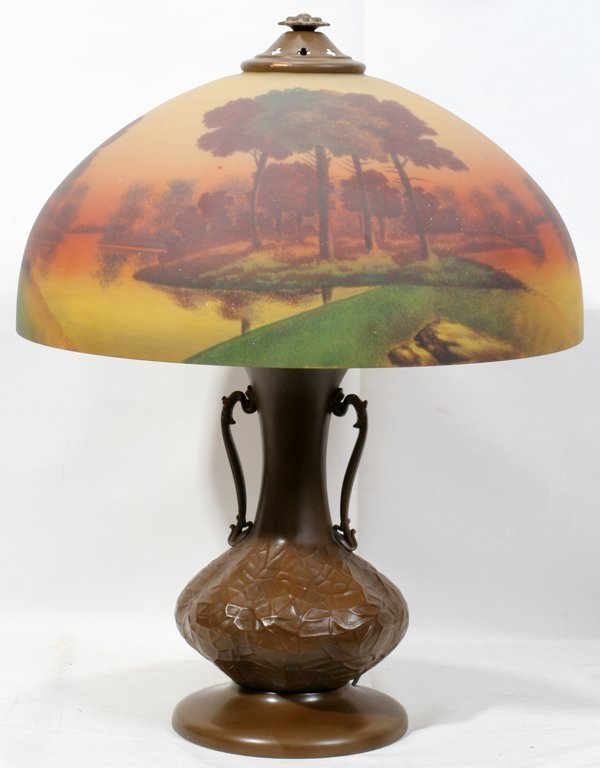 041020: REVERSE PAINTED LAMP, EARLY 20TH C., H 22""