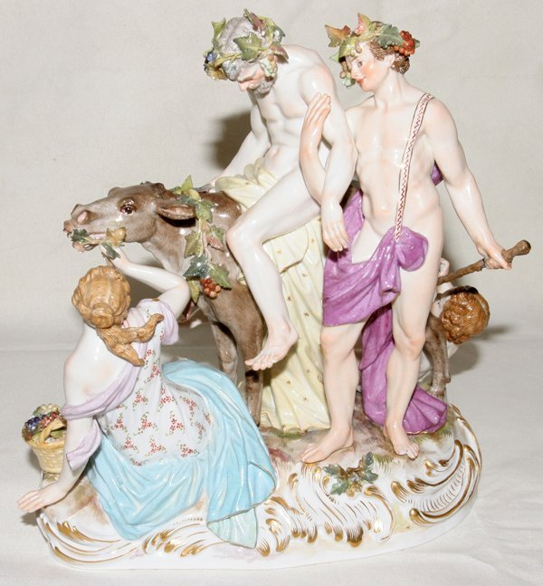 041025: MEISSEN PORCELAIN GROUP, 'SILENUS ON A DONKEY'