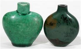 CHINESE SCENIC LACQUER & CERAMIC SNUFF BOTTLES