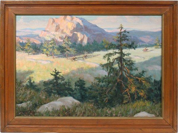 042001: HERBERT BOHNERT OIL/CANVAS WESTERN LANDSCAPE