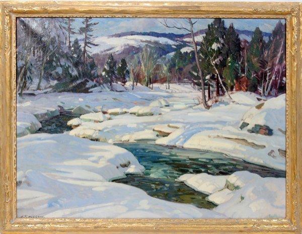 042002: A.T. HIBBARD OIL/CANVAS A RIVER BEND IN WINTER