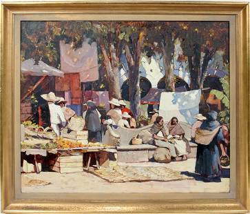 """042004: ANTHONY THIEME OIL """"MARKETPLACE IN MEXICAN TOWN"""