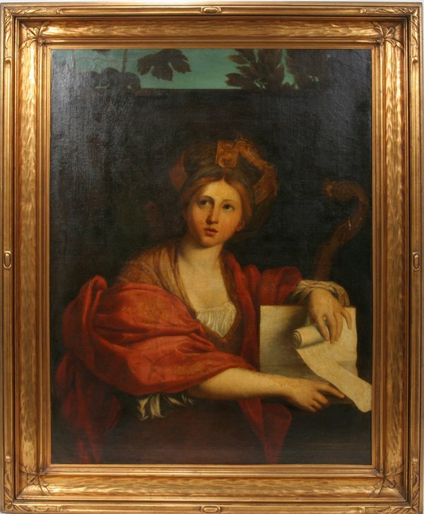 042011: OLD MASTER OIL/CANVAS WOMAN WITH MUSIC SCROLL