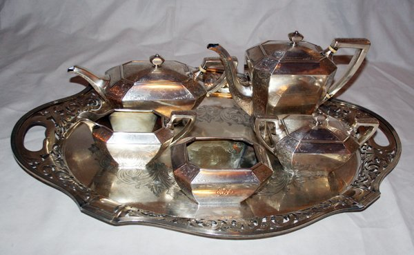 """042021: DURGIN STERLING """"FAIRFAX"""" TEASET ON PLATE TRAY"""