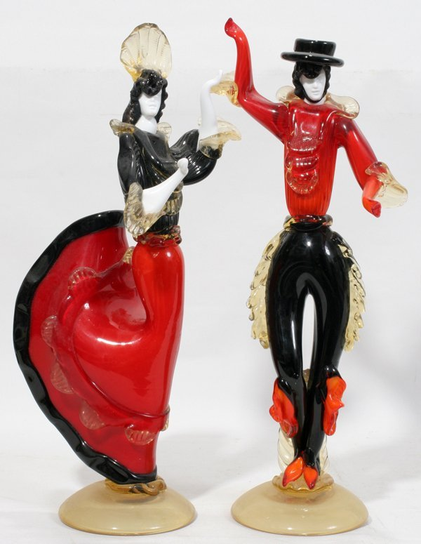 042280: MURANO GLASS FIGURES OF FLAMENCO DANCERS, PAIR