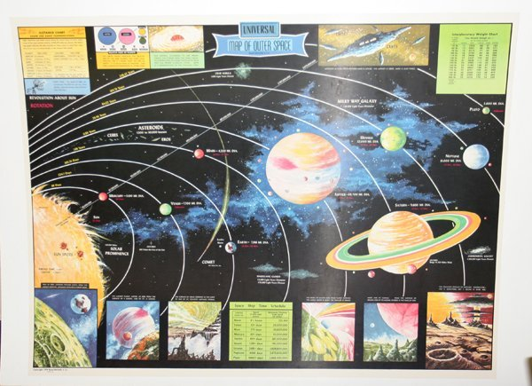 """042517: RAND MCNALLY UNIVERSAL MAP OF OUTER SPACE, 37"""""""