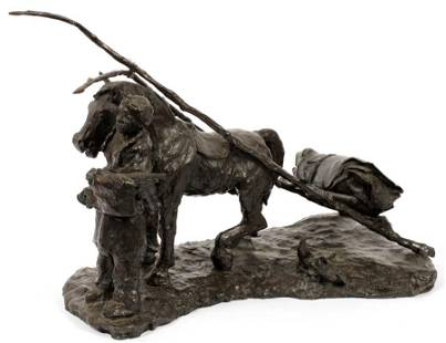SIGNED TARTER, BRONZE NATIVE AMERICAN INDIAN WITH
