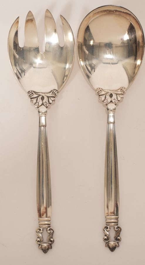 "GEORG JENSEN STERLING SILVER ""ACORN"" SALAD SERVERS 2"