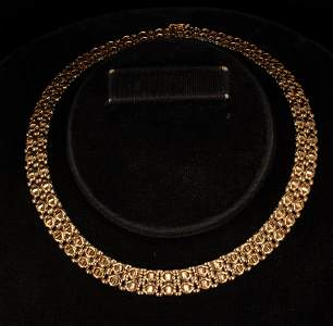 14KT YELLOW GOLD LINK STYLE CHOKER NECKLACE, ITALY L