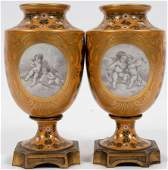 FRENCH SEVRES BRONZE MOUNTED PORCELAIN EMPIRE URNS,