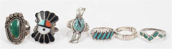 STERLING NAVAJO RINGS LOT OF SIX SIZE 7  8